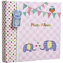 Álbum de fotos grande para bebés y niñas, con apartados para notas, espacio para 200 fotos de 15,2 x 10,2cm, diseño con elefantes, ideal para regalo, color rosa