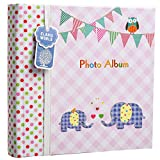 Arpan Large Baby Girl Pink Memo Slip In Photo Album 200 6x4'' Photos - Elephant Kids -Ideal Gift
