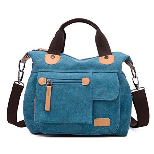 Honeymall Canvas Leinwand Umhängetasche Laptop Messenger Tasche Schultertasche Handtaschen(Weinrot) Blau
