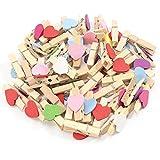 100pcs Mischte Farben Mini Holz Wäscheklammer Fotopapier Peg Handwerk Clips mit 5Meter Jute Twine