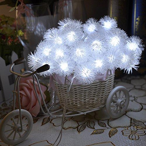 Lychee 4m 40 LED neve batteria pom pom luci leggiadramente della stringa per Outdoor Wedding coperta Garden Home decorazione della festa di Natale (bianca) - 2 Pulsante Di Alimentazione Finestra Interruttore