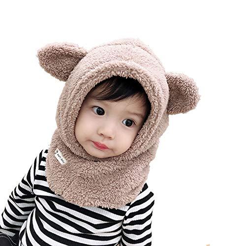Boomly Baby Wintermütze Nackenwärmer Ohrenklappen Warm Kapuzen Schal Beanies Hüte Nettes Ohr Plüsch Verdicken Absicherungskappe Anzug für 1-6 Jahre alt (Khaki, 4-6 Jahre altes)