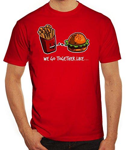 Valentinstag Herren T-Shirt mit Fries + Burger Motiv von ShirtStreet Rot