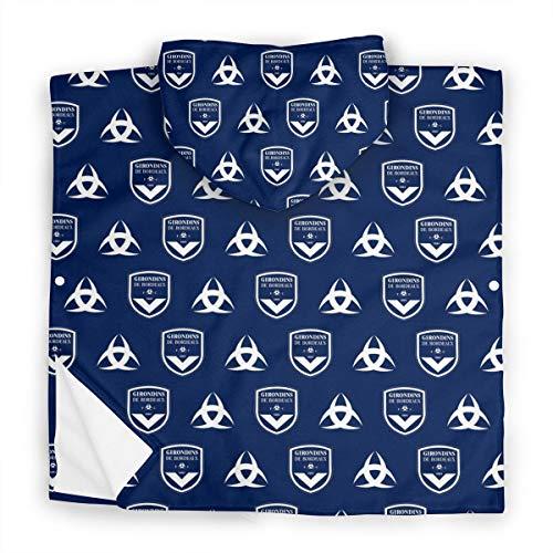 Emmapont FC Girondins De Bordeaux Serviette pour Enfants avec Capuche, Garçons Filles Couverture Absorbante De Peignoir De Coton, Serviette De Bain De Plage