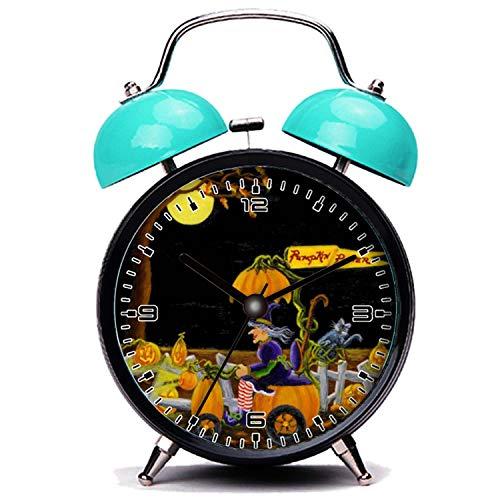 ker, Nette Katze Halloween, Uhr, Hexe, Jack-O-Laternen, Maus, Katze Twin Bell Wecker mit Nachtlicht ()