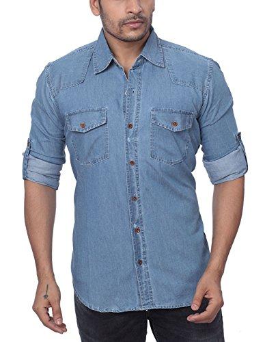 Global Rang Men's Denim Shirt (Denim Plain A-L__Blue_42)
