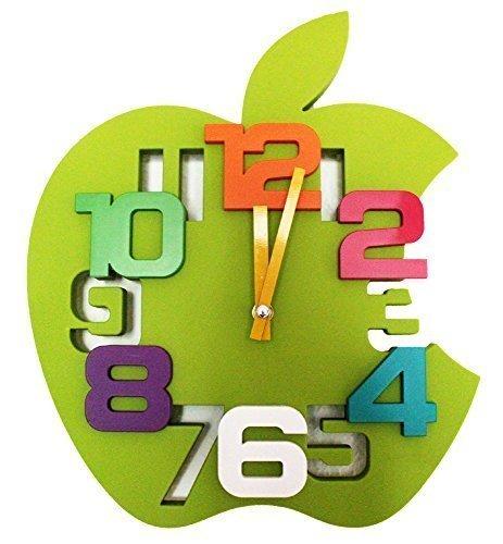 3D orologio da parete di Design da cucina Baduhr office Clock da cameretta mela, Plastica, verde, 30 x 35 x 2 cm