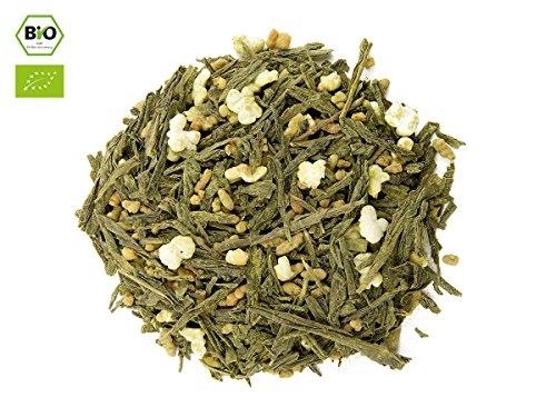 Japanischer Grüner Tee Genmaicha 'n' Matcha, BIO-zertifiziert, Premium. 50 g, lose, nicht aromatisiert. Aus kleinem Tee-Garten Präfektur Yame/Fukuoka. Feinster Sencha, belebender Matcha, Natur-Reis, geröstet und gepufft. Mild mit Röst-Aromen