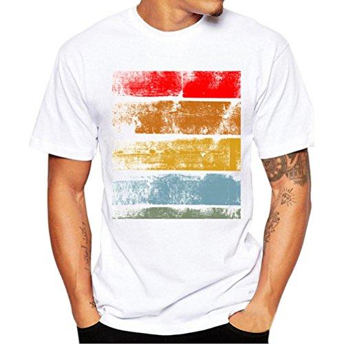 Herren T Shirts, Kingwo Männer Tierdruck T Shirts Hemd Kurzes Hülsen Baumwollt shirt Blusen Männer T Stück Bluse (3XL, Rot) (Tee Modal Ärmel Kurze V-ausschnitt)