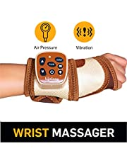 Lifelong Rechargeable Wrist Massager for Pain Relief (With Vibration and Air Pressure) (Brown)