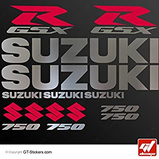 Aufkleber Suzuki GSX 750–Chrom/Rot–Brett XXL 17GSX R, GSXR, Sticker, selbstklebend, Aufkleber, gt-design