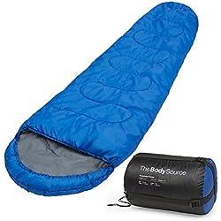 Saco de dormir tipo momia (300 g/m²) 3-4 estaciones. Capucha y cuello con cordón