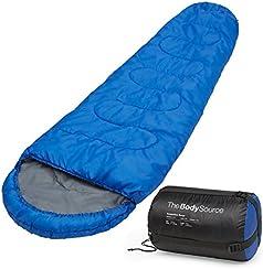 Profi-Mumienschlafsack, 300 g/m², für Camping, Wandern, Outdooraktivitäten, 3/4 Jahreszeiten, Kragen und Kapuze mit Kordelzug Schlafsack