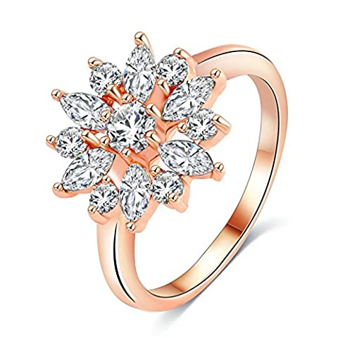 AnazoZ Noble Womens Jewelry Flower Simulated Diamond Pansy Wedding Rose Gold Copper Ring Size P 1/2