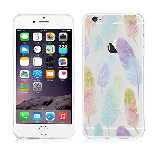 iPhone 6 Plus Hülle, JAMMYLIZARD Transparentes Sketch Back Cover aus Silikon für iPhone 6 Plus und iPhone 6s Plus 5.5 Zoll, Vogelfedern Verschiedene Vogelfedern