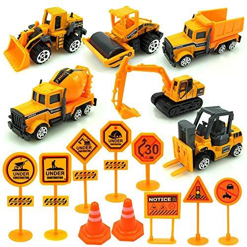 Volwco 6 Véhicules de Construction Voiture Jouet, Dumper, Bulldozers, Chariot élévateur, chariot élévateur, voiture d'asphalte, excavatrice avec Signposts, Vehicules de Chantier pour 3-12 Garçon Fille
