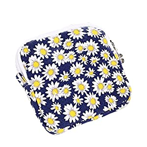 Fengge Women Girl Cute Daisy Hygienic Sanitary Napkin Bag Portable Pouch – Blue