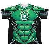 Linterna Verde DC Comics Superhéroe Disfraz de HAL Jordan Big Boys la Parte Delantera tee T - Blanco -