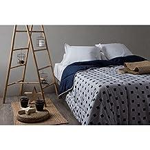 Velfont Edredon Nordico Reversible Monaco Azul 250 gramos para cama de 90 o 105 cm, 180 x 270 cm