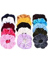 Whaline 15 Pièces Élastiques Cheveux en Velours pour Femme File Cheveux Cravates Bandes Chouchous, 15 Couleurs