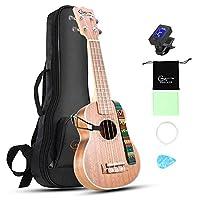 Hricane Sapele Ukelele Soprano 21 Inch Ukelele Set with Bag Extra Strings for Beginners