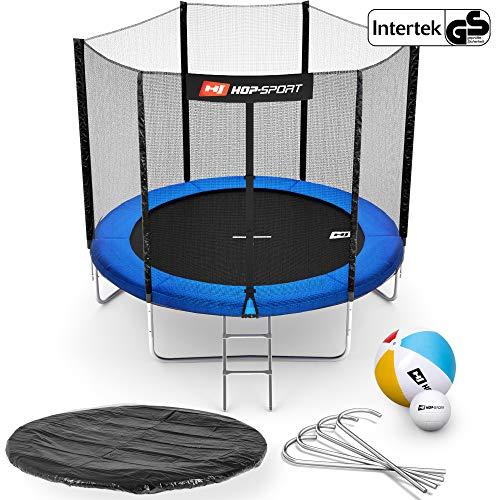 Hop-Sport Gartentrampolin Outdoor Trampolin 244, 305, 366, 430, 490 cm Komplettset inkl. Außennetz Leiter Wetterplane Bodenhaken blau (244 cm)