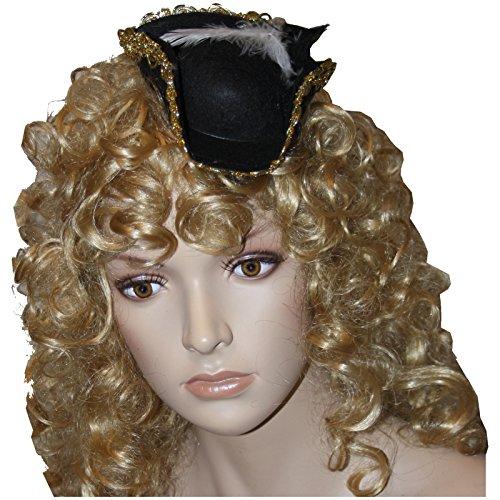 Spassprofi Mini Piratenhut mit Haarreif und Federn f. Kostüm Pirat Piratin Seeräuber Hüte Faschingshut - Piraten Kostüm Mini Hut