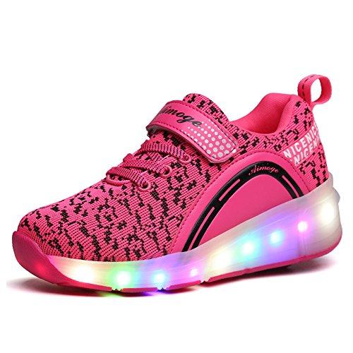 Unisex Schuhe mit Rollen Kinder Skateboard Schuhe Rollschuh Schuhe LED Light Wheels Sneakers Outdoor-Trainer für Junge Mädchen (34 EU, Ein Rad / Rosa) (Skateboard-schuhe Gute)
