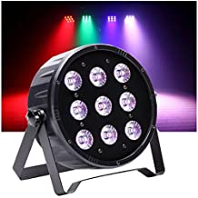 Top-Uking Por luz Proyector 9LEDs Luz de discoteca Iluminación de escenario Lámpara de escena DMX RGBW 4 en 1 Comando de voz para Disco Fiesta Club Bar Dj(120W)