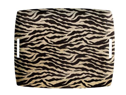 Platex 4054432004 Plateau avec Anses Intégrées Décor Safari Acrylique Noir/Doré 54 x 43 x 3 cm