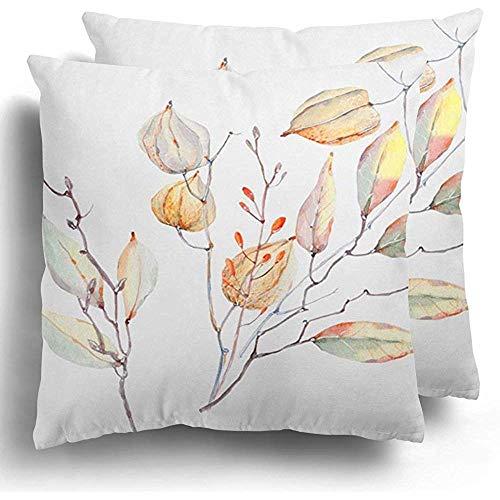Fodera per cuscino da tiro arancione agosto acquerello composizione autunnale floreale estivo bohemien bouquet giallo fodera per cuscino in poliestere 45x45 cm