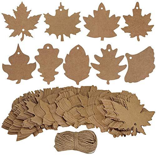80 Stück Ahornblatt Geschenkanhänger, 9 Stil Kraft Herbstlaub bevorzugen Papieranhänger mit 20m-Saiten, Blatt hängen Papieranhänger Karten für Weihnachten Thanksgiving Holiday ()