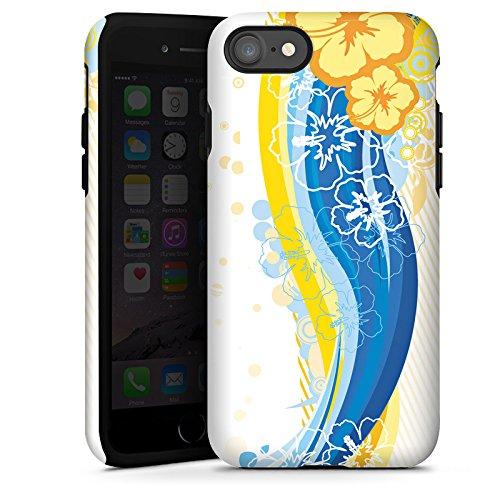 Apple iPhone X Silikon Hülle Case Schutzhülle Blumen Regenbogen bunt Tough Case glänzend