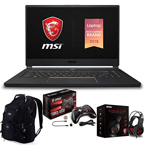 "MSI GS65 Stealth 004 i7 8750H 1920x1080 - MSI GS65 Stealth-004 Premium Gaming Laptop (Intel 8th Gen i7-8750H 6-Core, 32GB RAM, 512GB PCIe SSD, 15.6"" FHD (1920x1080) 144Hz Thin Bazel, NVIDIA GeForce RTX 2070, Win 10 Pro) with Gaming Bundle"