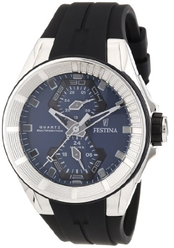 Festina Men's Quartz Watch with Blue Dial Analogue Display and Black Rubber Strap F16611/3