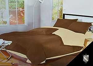 155x200 hellbraun + beige Bettwäsche Bettbezüge Bettwäschegarnituren 100% Baumwollsatin pflegeleicht light brown + beige D19