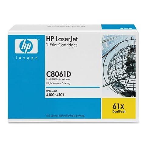 HP Original LaserJet Dual Pack 61x C8061X Toner Cartridges (for LJ 4100MFP, up to 10000 Pages Each, Black, Contains 2 Print