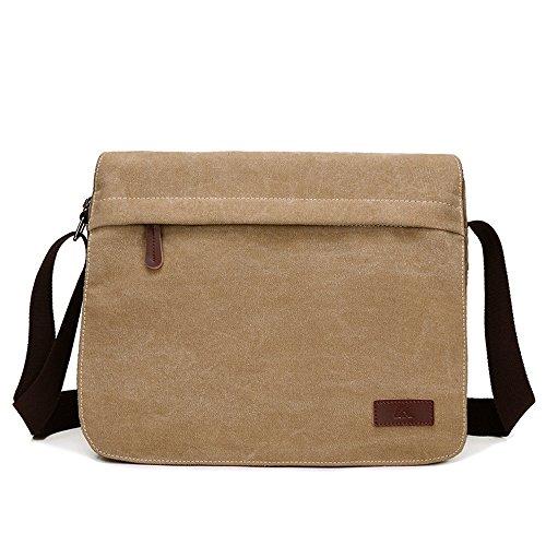 FGEFG Portable 14 Zoll Laptop Handtasche Messenger Tasche Aktentasche Oxford Tuch blau für iPad Pro MacBook Männer Frauen (Color : Khaki) -