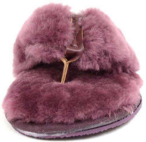 Luxueux Peau de mouton pour Tong Chaussure Chaussons/prune, de visons, naturel et ivoire) Violet - Prune