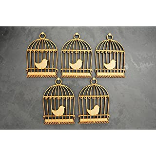 Birdcage MDF Blank Craft Embellishments 80mm x 55mm - Pack of 5