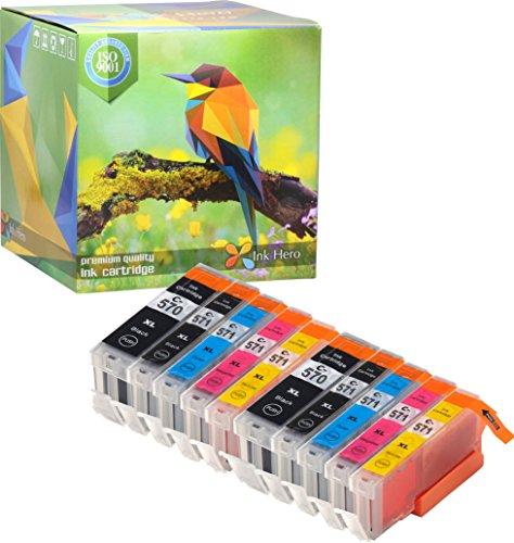 Ink Hero Cartouche d'encre compatible pour Canon 571XL, 570XL (Noir Pigment, Noir, Cyan, Magenta, Jaune, Pack de 10)