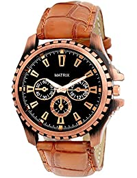 Matrix Casual Black Dial & Brown Leather Strap Analog Wrist Watch For Men's/Boys - (WCH-121)