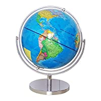 Yamyannie-Home Children World Globes Educational World Globe with Stand Adults Desktop Toy Geography Learning Toy (Color : Blue, Size : One size)