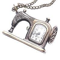 Brass Vintage Style Sewing Machine Pocket Watch Necklace
