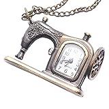 81stgeneration Women's Brass Vintage Style Sewing Machine Pocket Watch Chain Pendant Necklace, 78 cm - 81stgeneration - amazon.co.uk