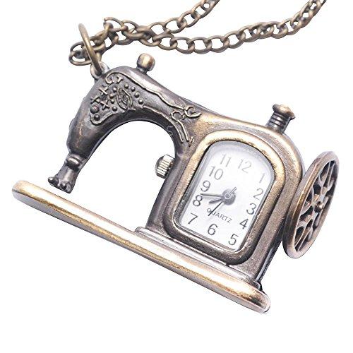 81stgeneration Reloj en Latón Pequeño De Bolsillo Colgante De Collar con Cadena Larga Vintage Máquina De Coser