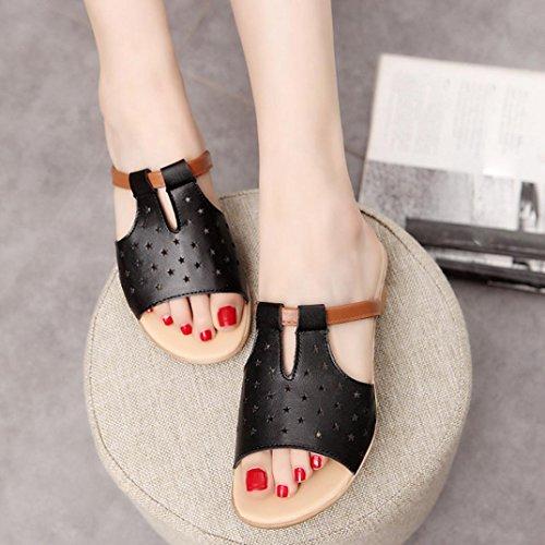 Transer ® Confort d'été de femmes sandales solides chaussons Noir