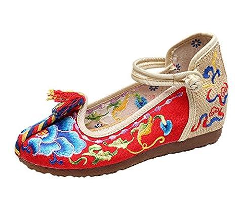 Icegrey Femme Mary Janes Fait Main Broderie Fleur Ballerine Chaussures