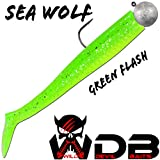 Angel-Berger Wild Devil Baits Sea Wolf Shad Meeres Gummifisch Dorsch (Green Flash, 135g)