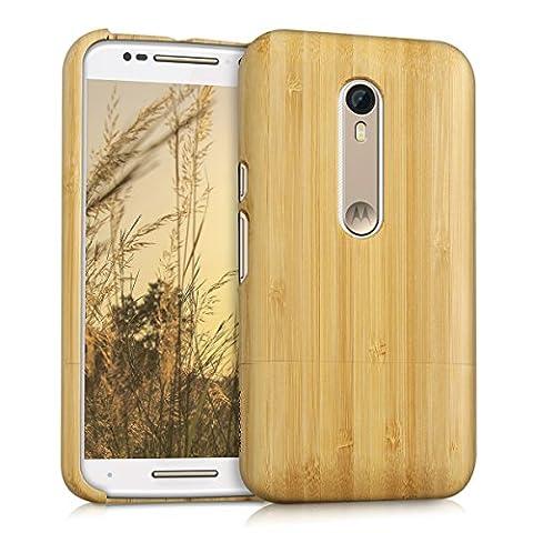 kwmobile Coque en bois véritable pour Motorola Moto X Style en bois de bambou marron clair